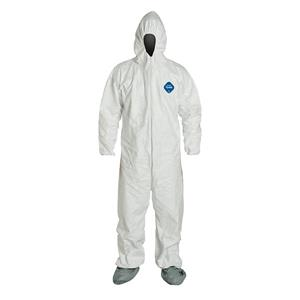 Tyvek® Coveralls w/ Respirator Fit Hood, Elastic Wrists, & Attached Skid-Resistant Boots